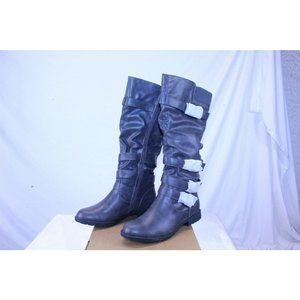 Womens Knee High Boots Ruched Leather Adjustable